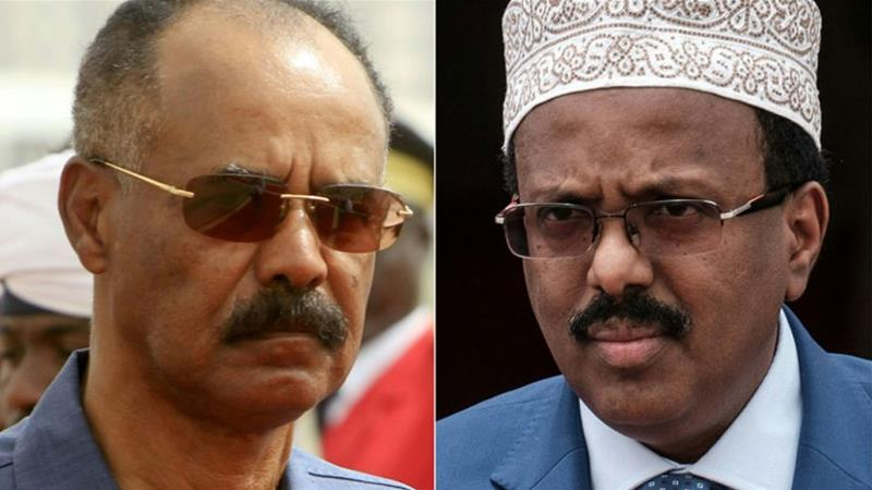 Isaias, left, and Mohamed, right, said the two countries will restore diplomatic ties and exchange ambassadors [AFP]