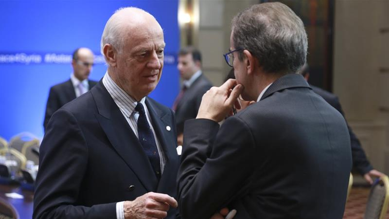 UN Special Envoy for Syria Staffan de Mistura participated in previous rounds of the Astana peace talks [File: Mukhtar Kholdorbekov/Reuters]
