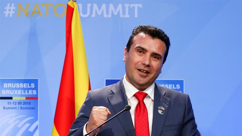 Zaev attends a news conference during a July ceremony marking the invitation of Macedonia to NATO [Darrin Zammit Lupi/Reuters]