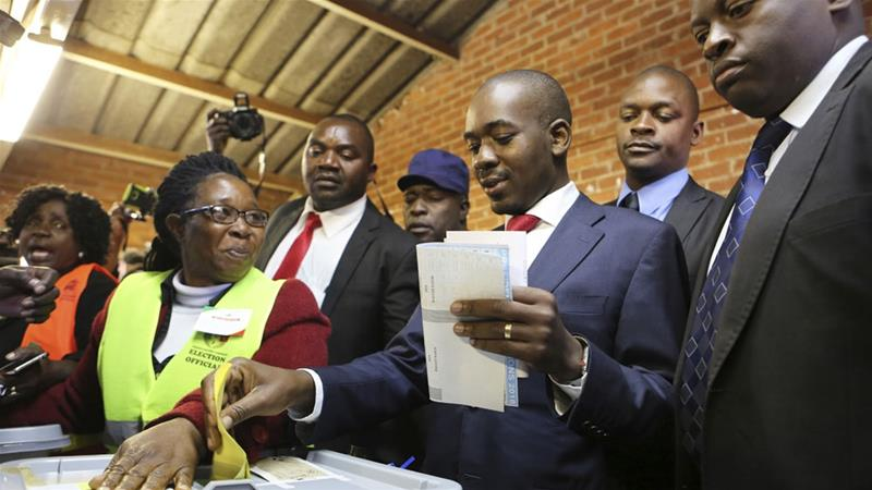 Chamisa, the leader of the Movement for Democratic Change (MDC), said on Tuesday his party had results from 10,000 polling stations [Tsvangirayi Mukwazhi/AP photo]