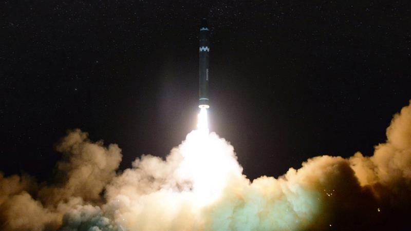 North Korea successfully launched its Hwasong-15 rocket in a test on November 30, 2017 [File: KCNA via Reuters]