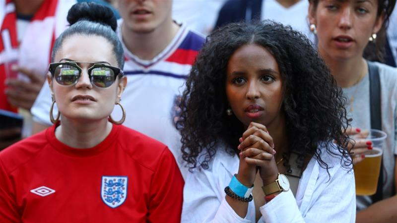 England fans watch Colombia vs England in Flat Iron Square, London [Simon Dawson/Reuters]