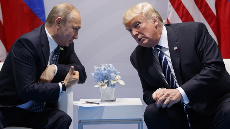 President Donald Trump meets with Russian President Vladimir Putin at the G20 Summit on July 7, 2017, in Hamburg, Germany [AP/Evan Vucci]