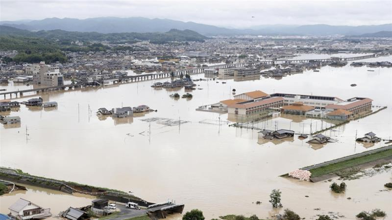 Abe visiting flood-hit western Japan as deaths reach 176