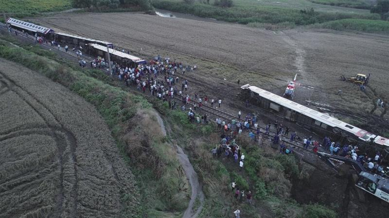 Ten dead and dozens injured as train derails in Turkey