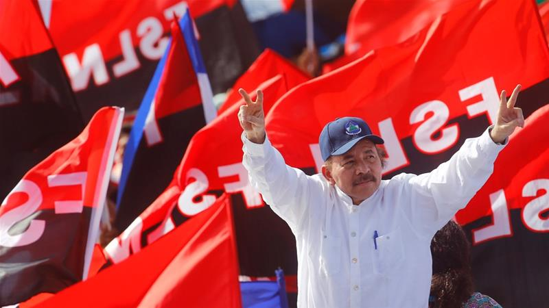On the 39th anniversary of the Sandinista victory over Somoza on July 19, Ortega was firmly holding on to power [File: Oswaldo Rivas/Reuters]