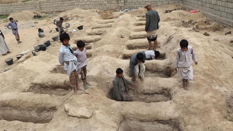 Forty children were killed in the coalition air raid on Saada province [Naif Rahma/Reuters]