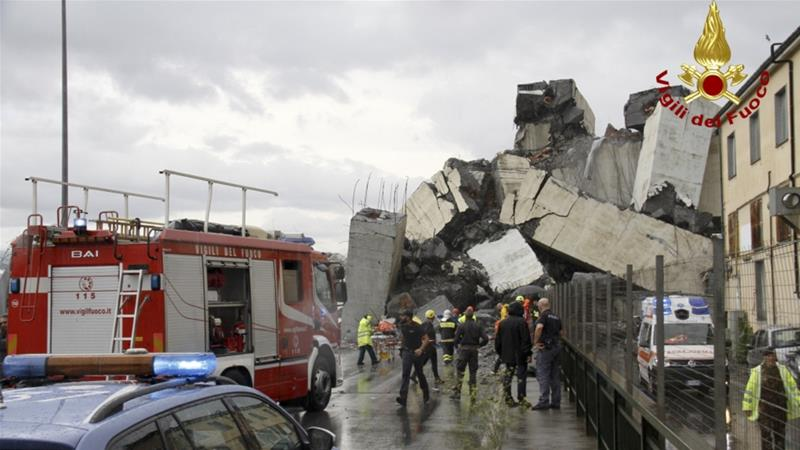 Rescue workers are searching the rubble for survivors after an estimated 20 vehicles fell from the bridge [Vigili Del Fuoco via AP]