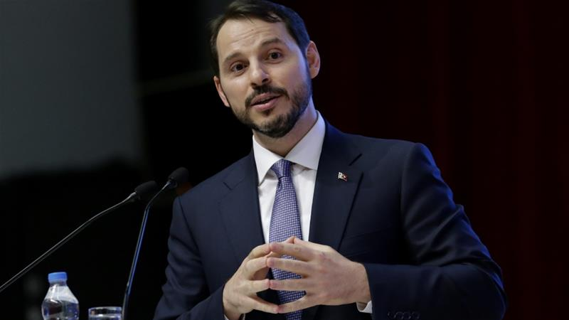 Berat Albayrak addresses the audience at a symposium on the 17th foundation anniversary of the ruling AKP in Ankara [Metin Aktas/Anadolu Agency]