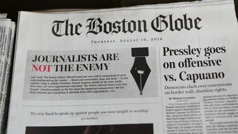 Hundreds of US newspapers denounce Trump's attacks on the press