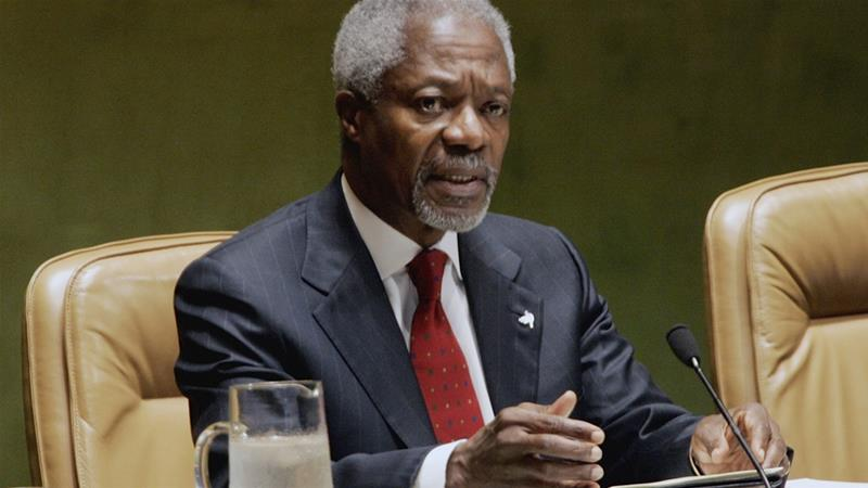 World leaders reacted to the news of Kofi Annan's death after it was announced on Saturday [File: Ed Betz/The Associated Press]
