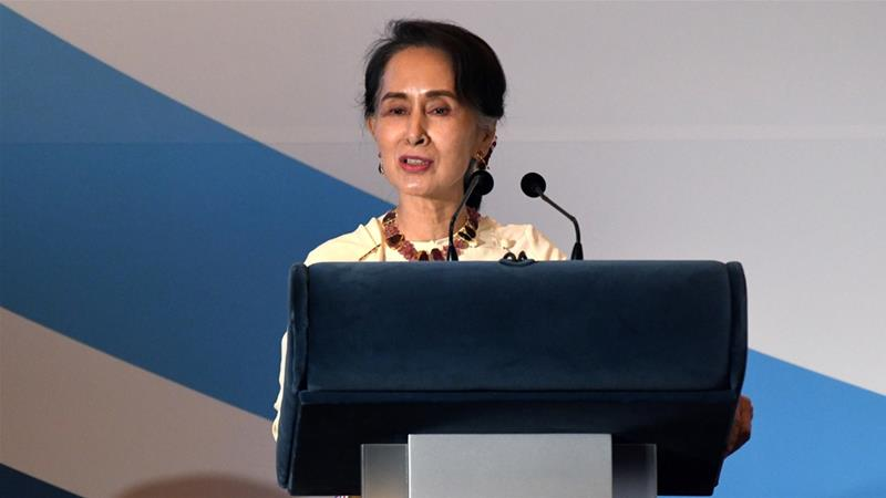Aung San Suu Kyi said it was up to Bangladesh to decide how quickly the Rohingya would return to Myanmar [Roslan Rahman/AFP]