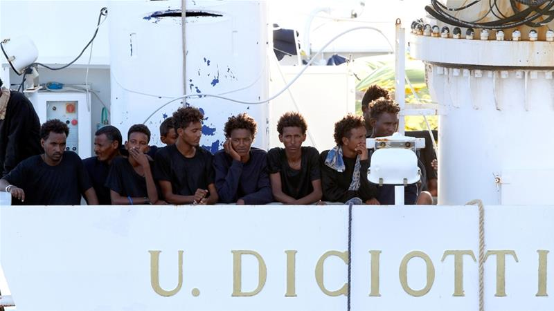 The Diciotti rescued 177 refugees and migrants from dinghies in distress off the Maltese coast nine days ago [Antonio Parrinello/Reuters]