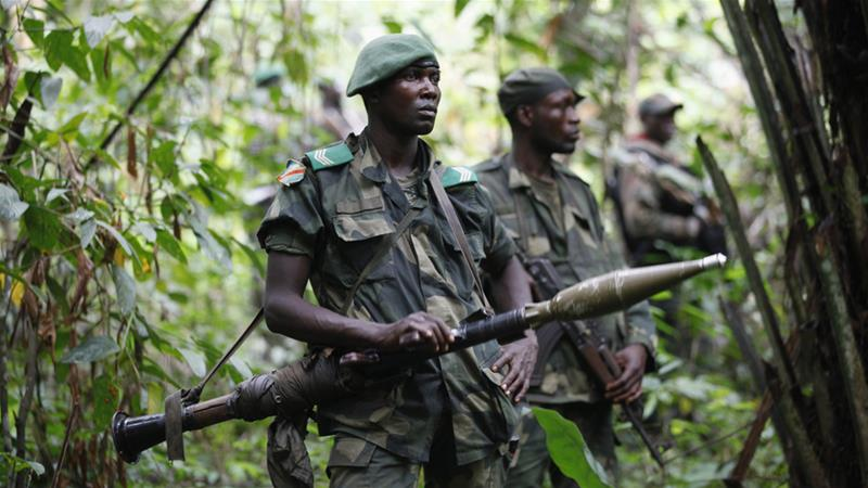 DRC soldiers patrol against Allied Democratic Forces rebels [Kenny Katombe/Reuters]