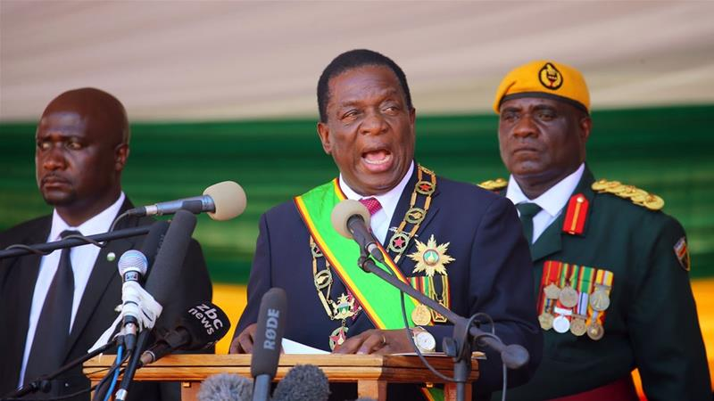 At the inaugural ceremony, Mnangagwa reached out to the opposition and urged the nation as a whole to unite [Aaron Ufumeli/EPA-EFE]