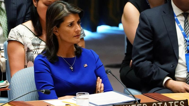 Nikki Haley accused UNRWA of over-counting the number of Palestinian refugees [Carlo Allegri/Reuters]