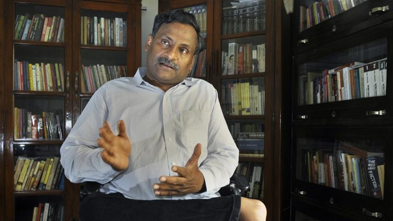 Professor GN Saibaba during an interview at his residence in the Delhi University North Campus on July 6, 2015 in New Delhi, India [Sushil Kumar/Getty Images]