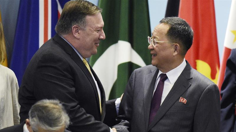 US Secretary of State Mike Pompeo met briefly with his North Korean counterpart Ri Yong-ho [AP]