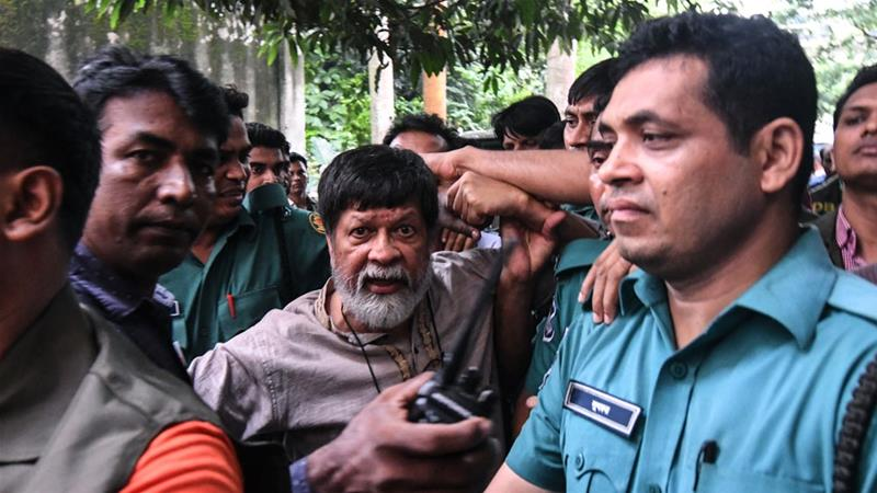 At least 20 plain-clothes officers picked up Shahidul Alam, 63, at his Dhaka home late on Sunday, hours after his critical comments were broadcast on Al Jazeera [Munir Uz Zaman/AFP]