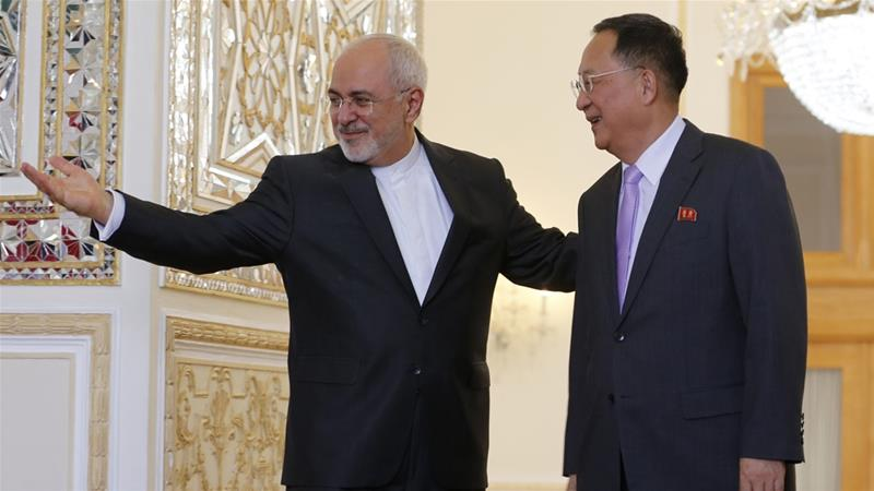 Zarif met on Tuesday with the his foreign ministry counterpart from North Korea a country also under US sanctions
