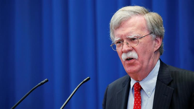 John Bolton verbally attacked The Hague-based ICC as well the Palestinians on Monday [File: Denis Balibouse/Reuters]