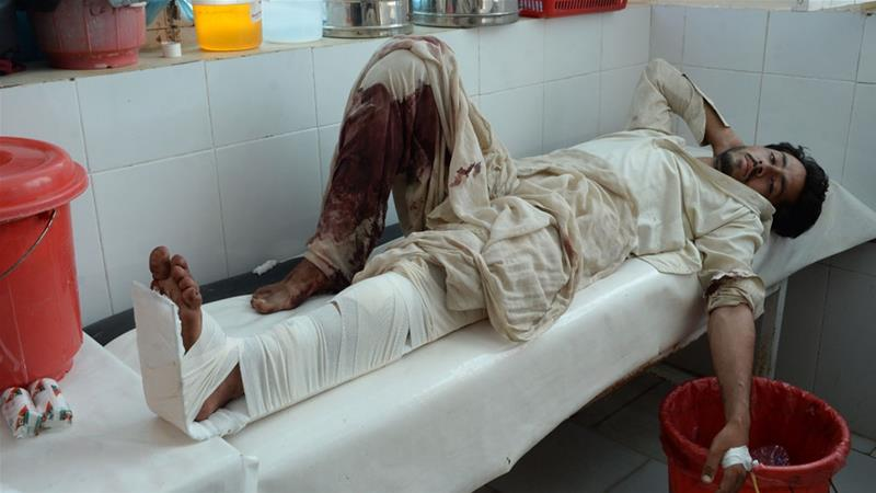 Medical staff have struggled to treat people wounded by the powerful blast in Nangarhar province [AFP]