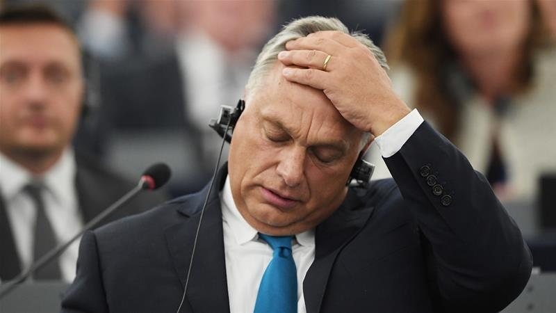 Orban has vowed to defy the European parliament vote, calling it a form of 'blackmail' [AFP]
