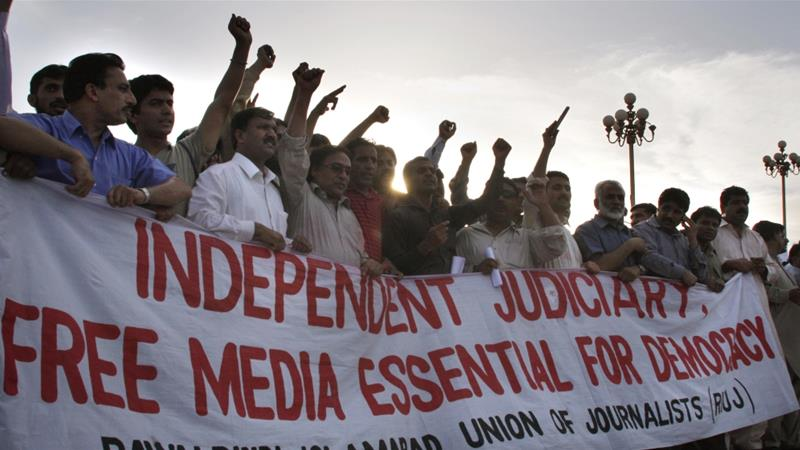 The CPJ report gives voice to several Pakistani journalists, who say they have been subjected to intimidation tactics [AP]