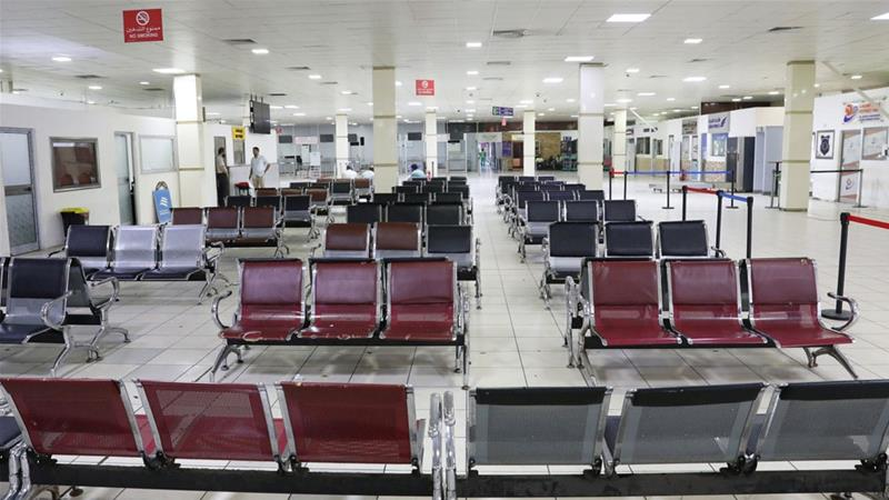 The interior of Mitiga airport is seen empty following the attack [Hani Amara/Reuters]