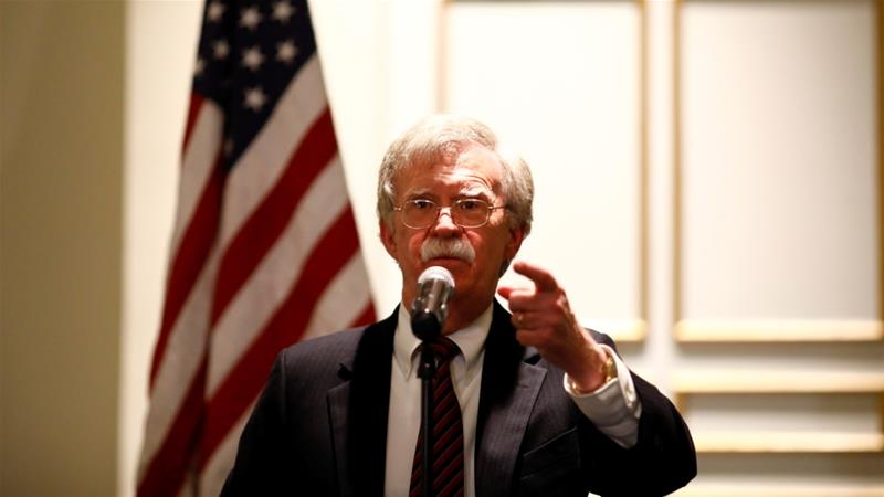 John Bolton threatened sanctions against ICC judges if they proceed with a probe into alleged war crimes by Americans in Afghanistan in a speech to the Federalist Society on September 10 [Reuters]
