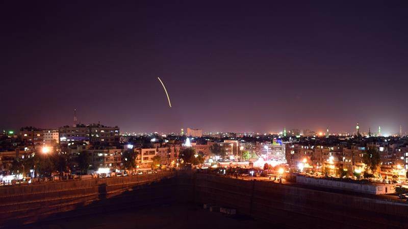 A military source told Sana news agency that the Syrian army confronted an Israeli missile attack [Handout/SANA/AFP]