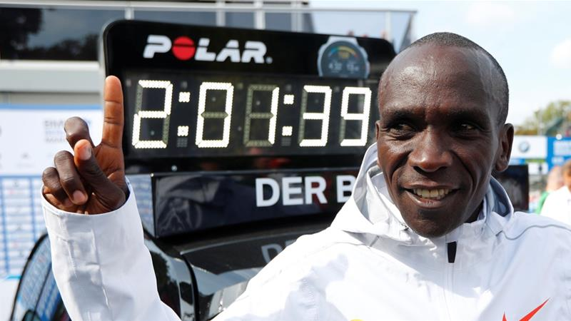 Eliud Kipchoge of Kenya sets new marathon world record