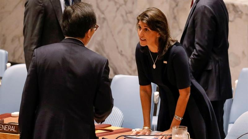 US Ambassador to the UN Nikki Haley (pictured) accused Russia of 'systematic' sanctions violations [Brendan McDermid/Reuters]