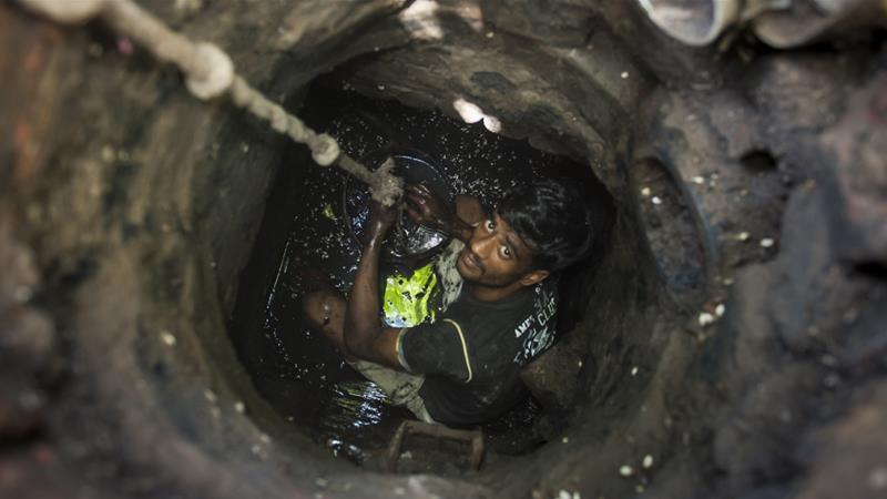 Manual scavenging continues in India despite a Supreme Court ban [Arkaprava Ghosh/Barcroft India/Barcroft Media via Getty Images]