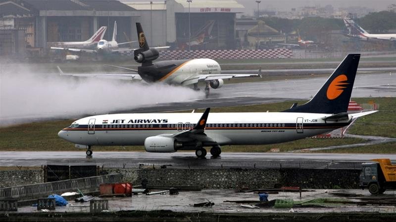 A Jet Airways flight returned to Mumbai after dozens of passengers complained of ear pain and nose bleeding [File:Nicolas Economou/ Getty Images]