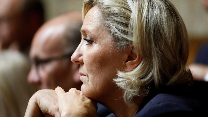 France's far-right politician has denounced the case, saying it is a violation of her freedom of expression [Charles Platiau/Reuters]