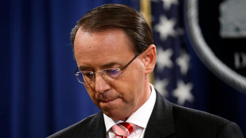 Rosenstein oversaw the Mueller investigation until Jeff Sessions was forced out of his post as attorney general late last year [File: Leah Millis/Reuters]