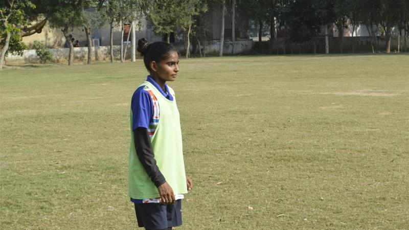 Tamana is a 19-year-old midfielder and says most of the players on the Haryana state squad are from Alakhpura FC [Adnan Bhat/Al Jazeera]