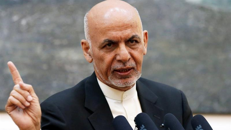 Afghan President Ashraf Ghani speaks during a news conference in Kabul, Afghanistan on July 15, 2018. [Reuters/Mohammad Ismail]