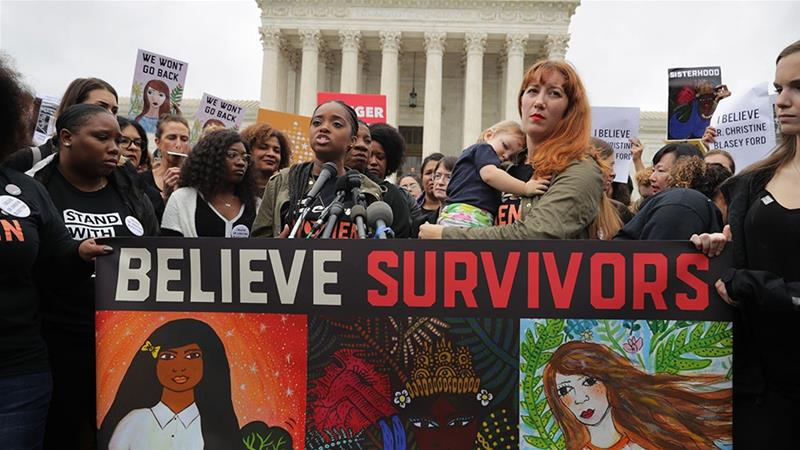 Believe Survivors protesters walk out as Kavanaugh stands firm