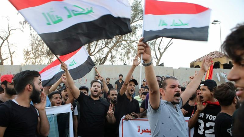 Demonstrators in Basra have been protesting against government over better public services and jobs [Nabil al-Jurani/AP]