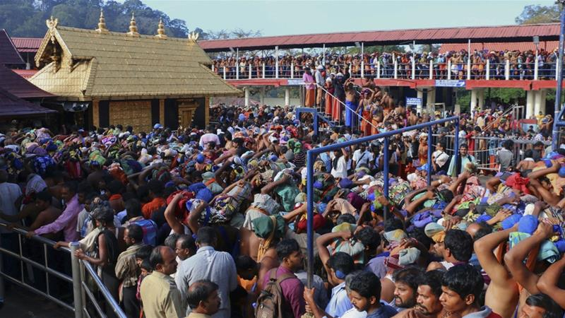 An estimated one million Hindu pilgrims travel to the Sabarimala temple every year to pray to the deity Lord Ayyappa [File: Hareesh Kumar AS/The Associated Press]