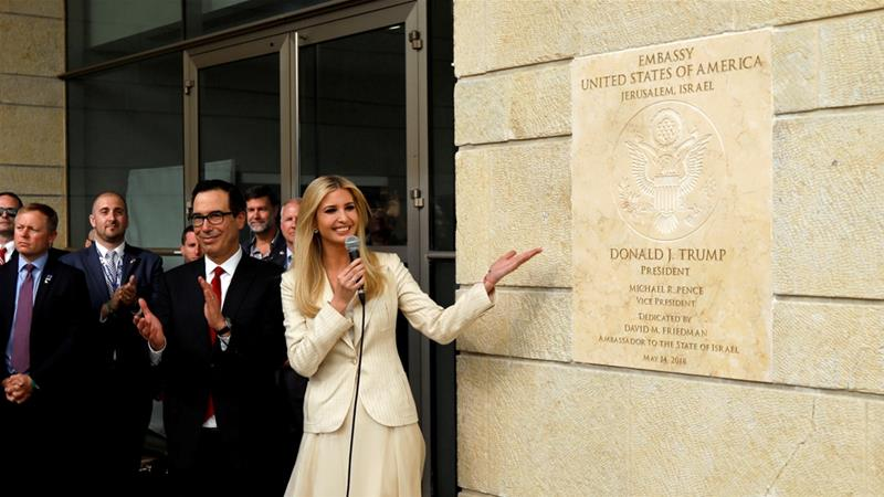 Ivanka Trump attended the embassy dedication ceremony in Jerusalem in May [Ronen Zvulun/Reuters]