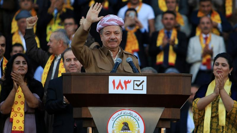 Former president Barzani said in his party's election campaign that Kurds will never give up their dignity [Reuters]