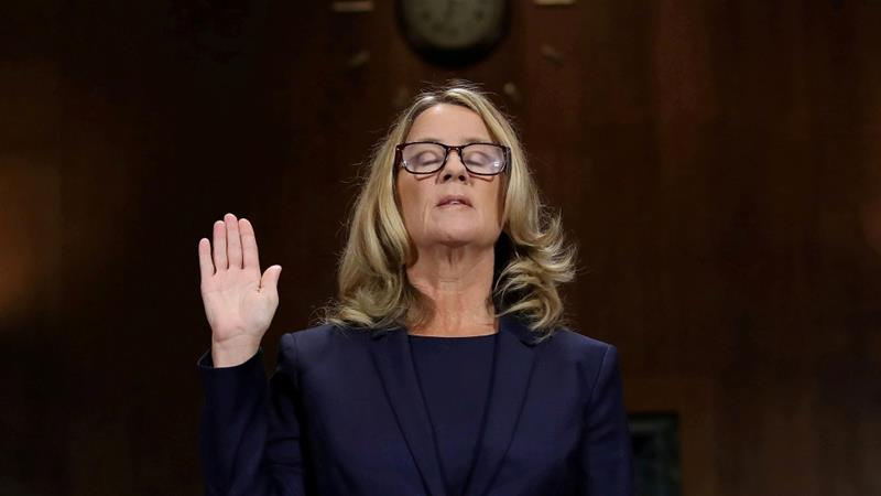 Christine Blasey Ford is sworn in before testifying before the Senate Judiciary Committee in Washington, DC on September 27, 2018 [Reuters/Win McNamee]