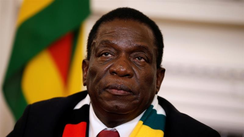 Zimbabwe's President Emmerson Mnangagwa looks on as he gives a media conference at the State House in Harare, Zimbabwe, August 3, 2018 [Philimon Bulawayo/Reuters]
