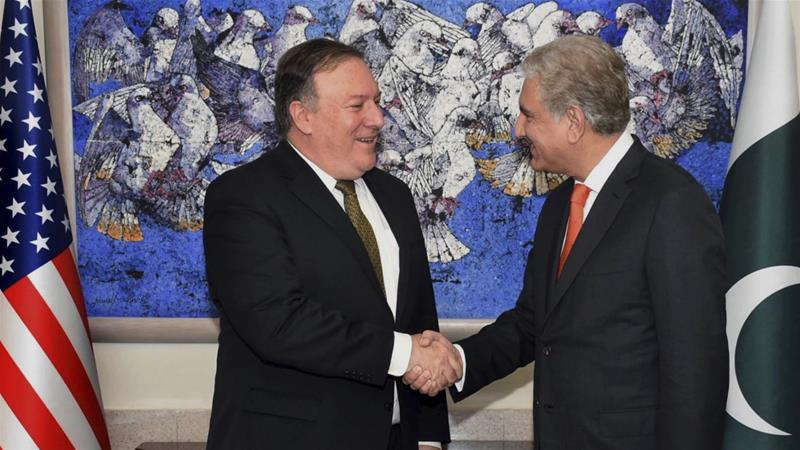 Pompeo (left) said it was time to 'deliver on joint commitments' [Press Information Department via AP]
