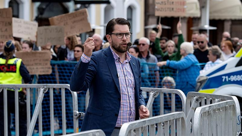 Protesters gather as far-right Sweden Democrats party leader Jimmie Akesson gives a speech in Malmo [Johan Nilsson/TT News Agency/Reuters]