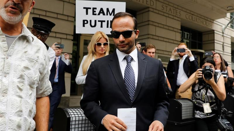 Papadopoulos is the first campaign aide sentenced in Robert Mueller's ongoing investigation [Yuri Gripas/Reuters]