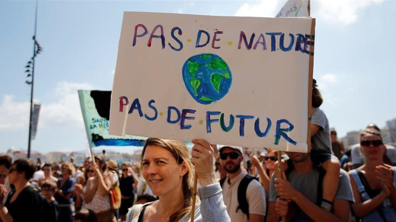 Activists urge world leaders to take action against climate change in Marseille, France in September: 'No nature, no future' [Jean-Paul Pelissier/Reuters]